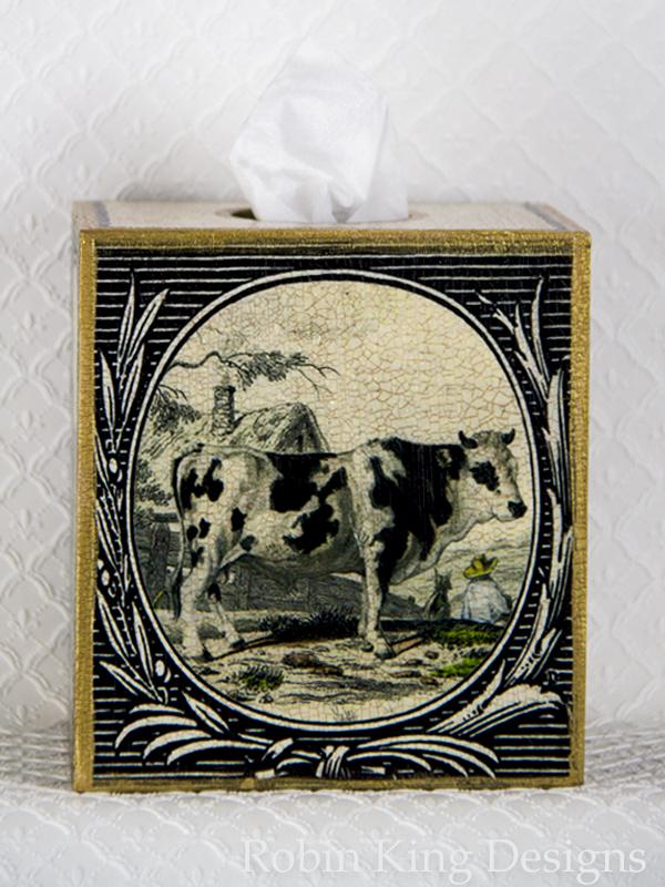 Black and White Cow Design Tissue Box Cover