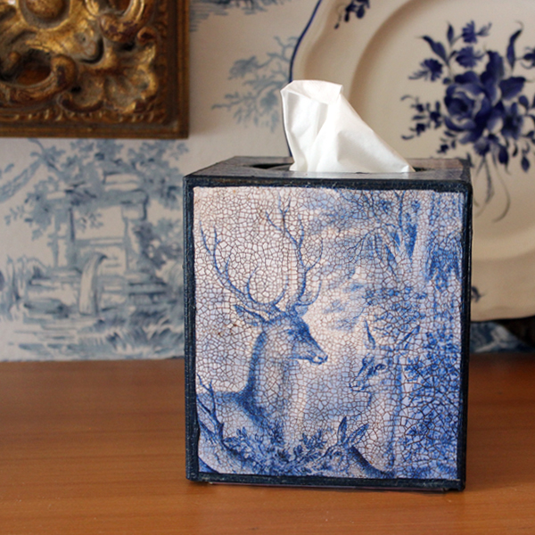 Blue and White Deer Tissue Box Cover