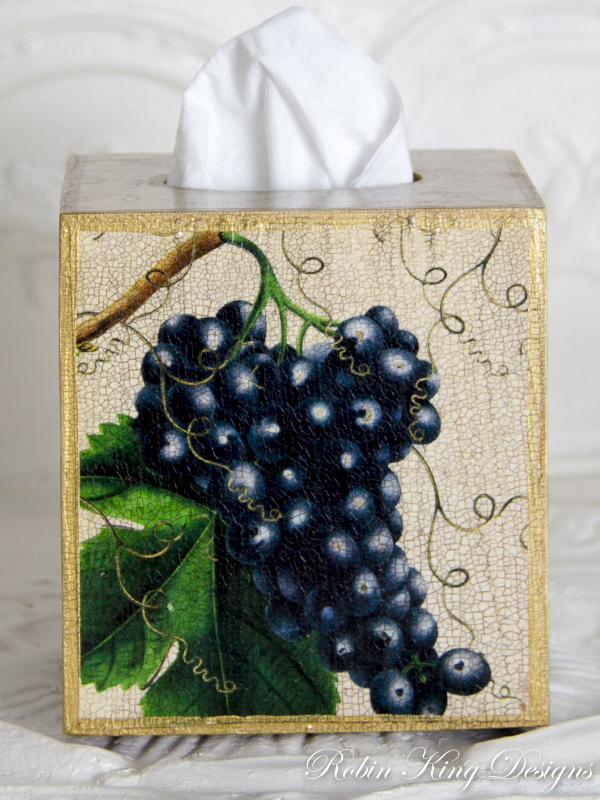 Blue Grape Tissue Box Cover