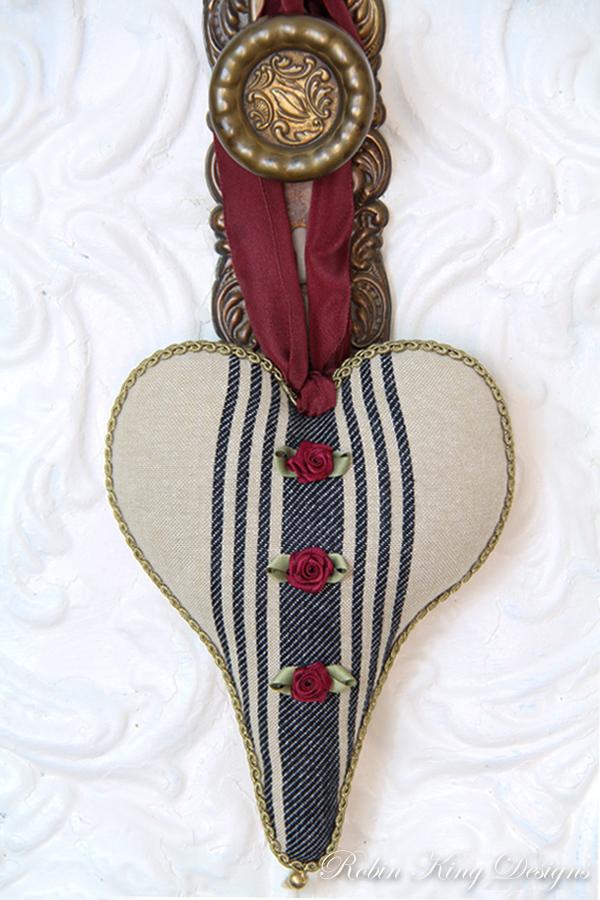 Blue Ticking Lavender Heart Sachet