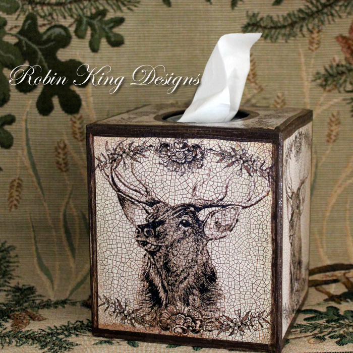Brown Stag Tissue Box Cover