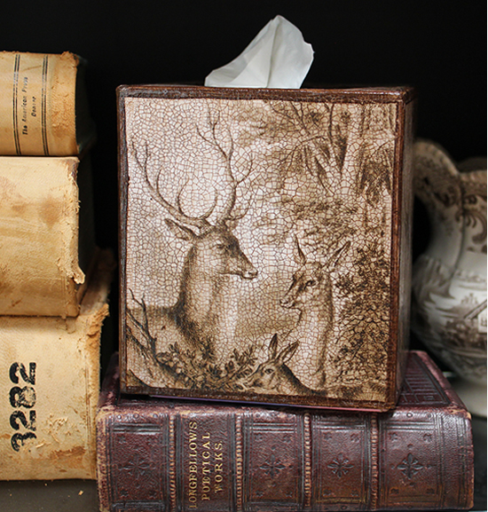 Brown and White Deer Tissue Box Cover