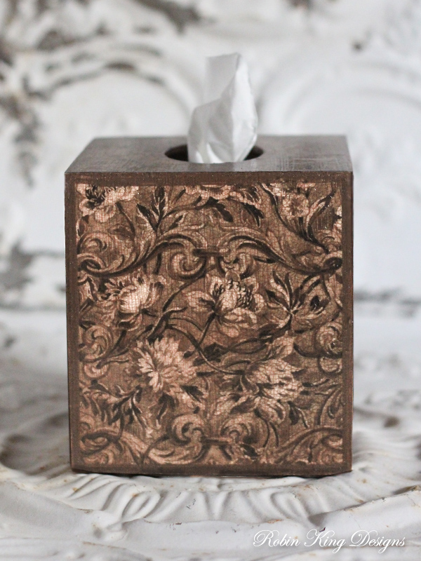Brown Floral Tapestry Tissue Box Cover