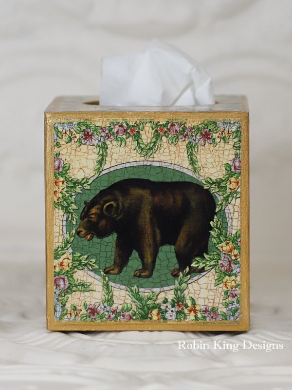 Brown Bear Wreath of Flowers Tissue Box Cover