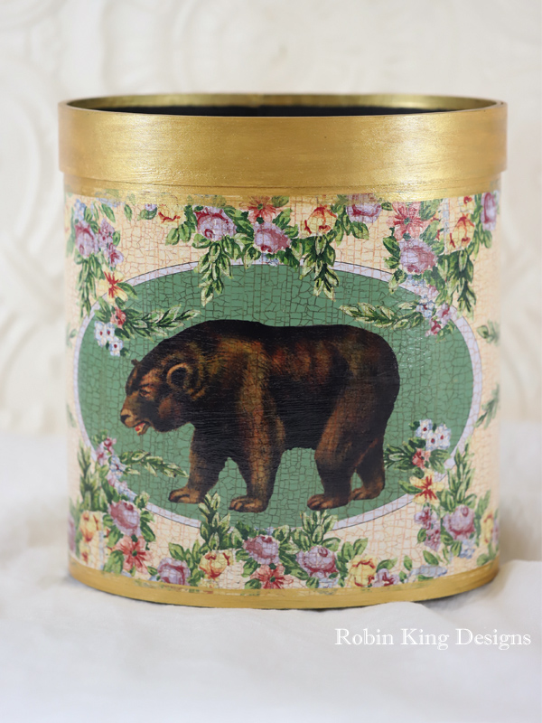 Brown Bear Wreath of Flowers Wastepaper Basket