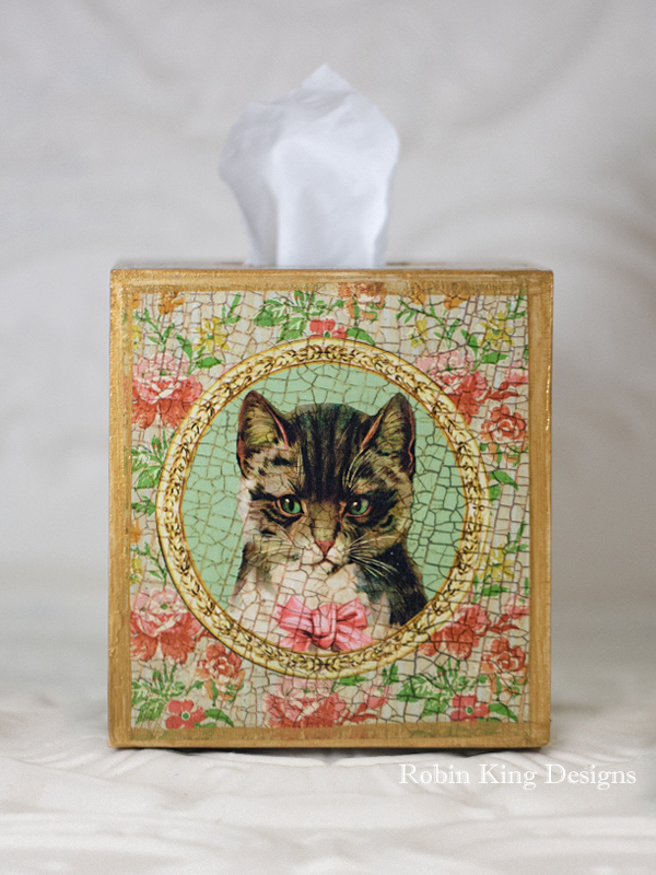 Cat Floral Tissue Box Cover
