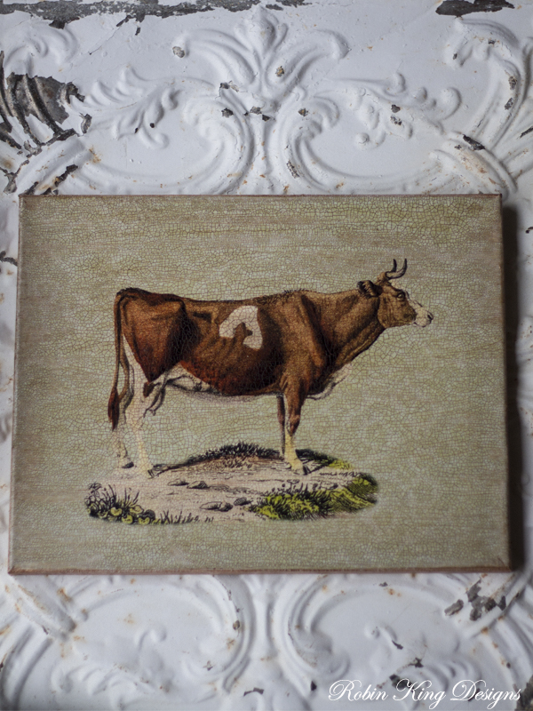 Cow on Light Green Pattern Background  11 by 14 inch Canvas