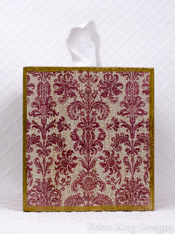 Damask Deep Pink Tissue Box Cover