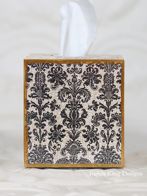 Damask Black Tissue Box Cover