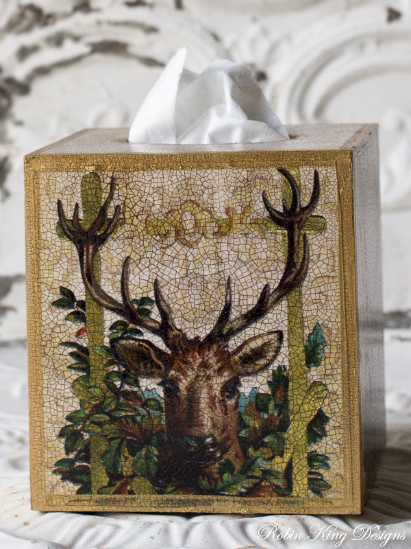 Deer in Leaves Tissue Box Cover
