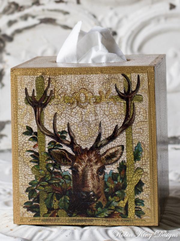 Deer in Leaves Tissue Box Cover