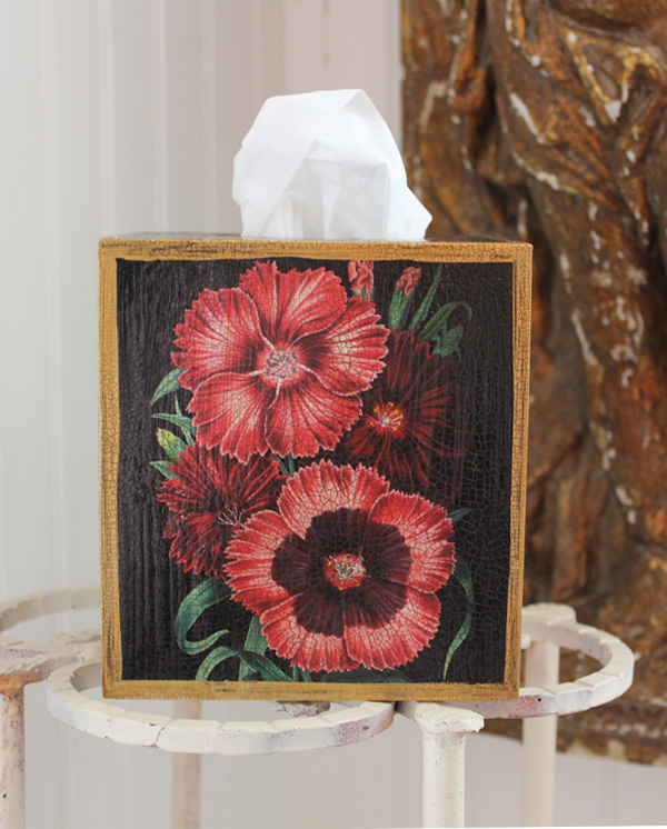 Dianthus Flowers Tissue Box Cover on Black