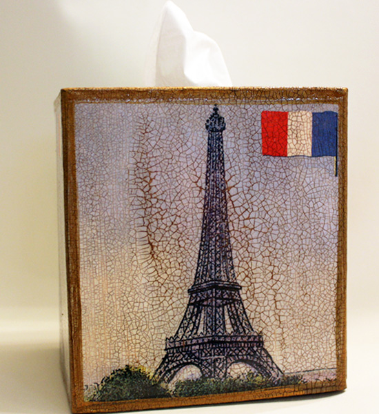 Eiffel Tower French Flag Tissue Box Cover