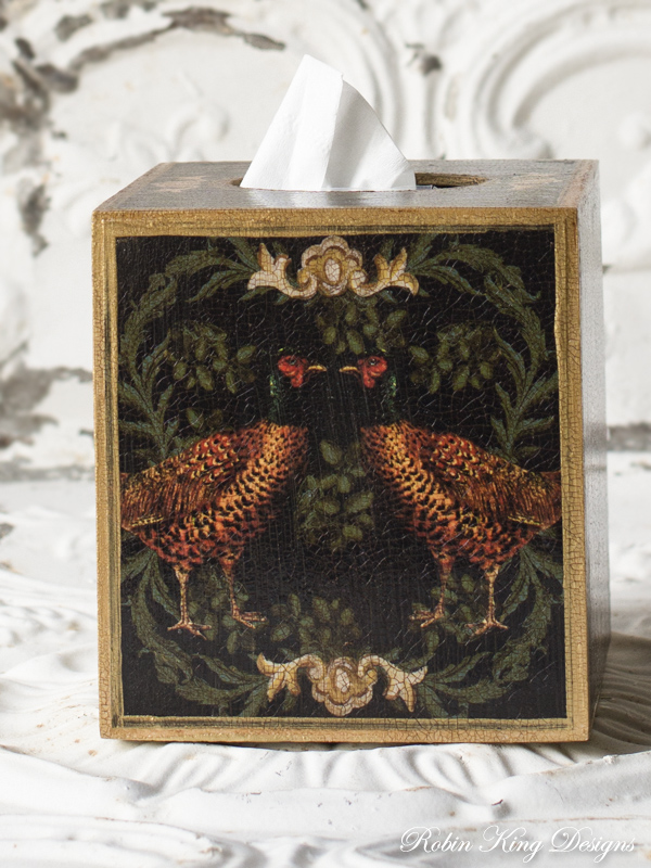 Facing Pheasants Tissue Box Cover