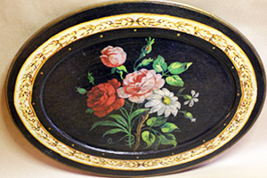 French Roses Platter Black