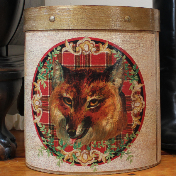 Fox on Plaid Wastepaper Basket