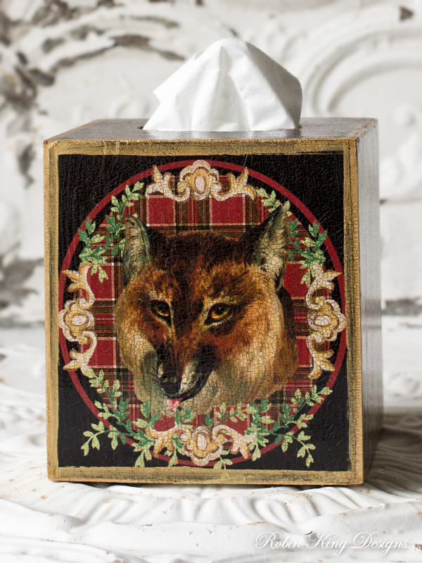 Fox Tissue Box Cover Red Plaid