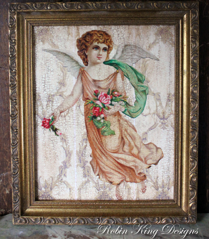 French Angel 8 by 10-inch Decoupage Canvas Art