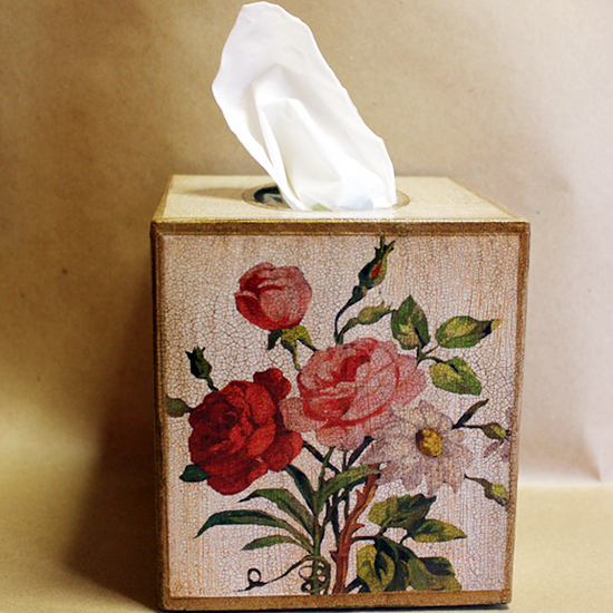 French Roses Tissue Box Cover Ivory