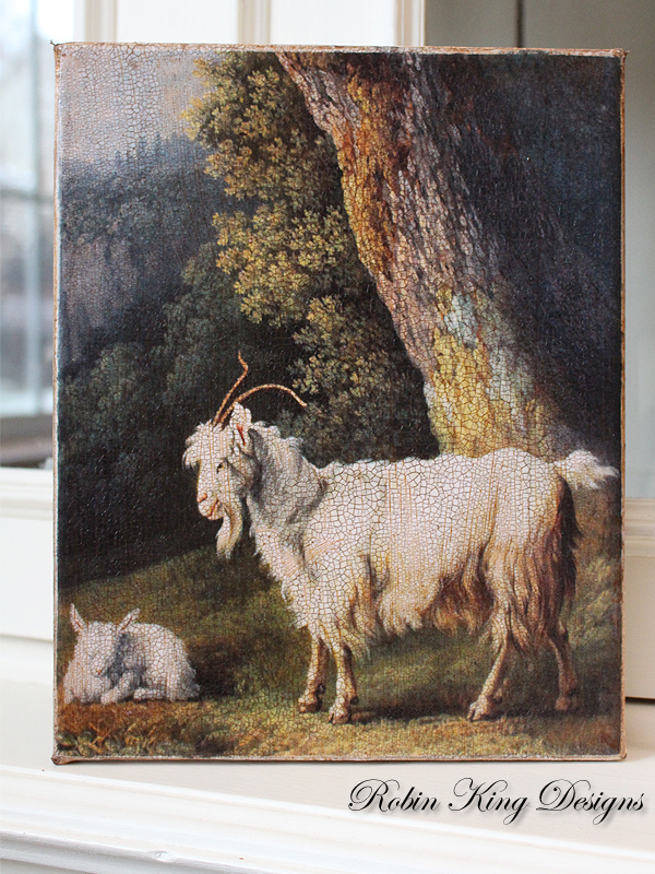 French Goat and Kid 8 by 10- inch Decoupage Canvas Art