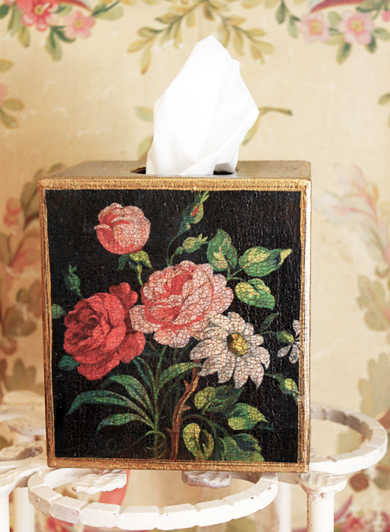 French Roses Tissue Box Cover Black