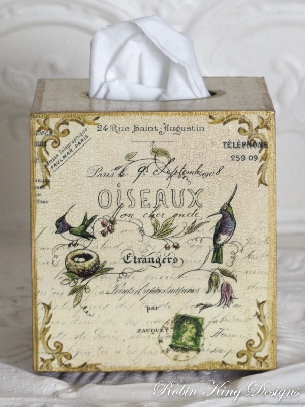 French Birds and Antique Script Tissue Box Cover