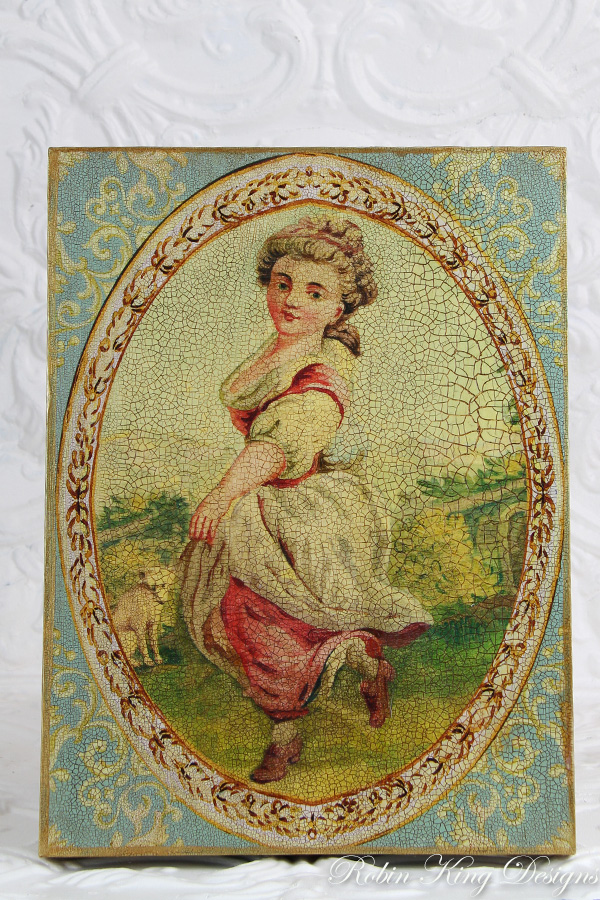 French Woman Dancing Wood Canvas Wall Art 12 by 16 Inches