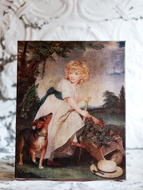 Girl and Dog in Garden 8 by 10-inch Decoupage Canvas Art