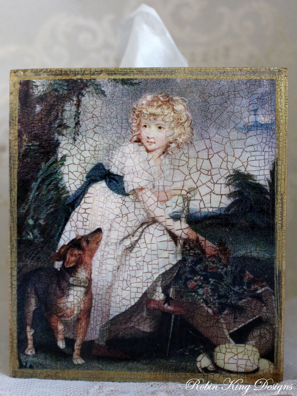 Girl and Dog in Garden Tissue Box Cover