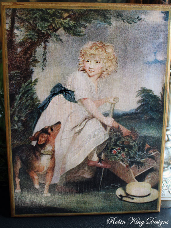Girl and Dog in Garden Wood Wall Art