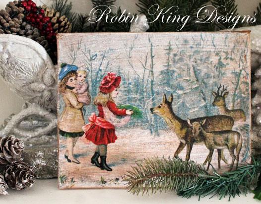 Girls Feeding Deer in Snow 8 by 10-inch Decoupage Canvas Art