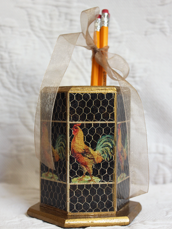 Golden Rooster Pencil Holder