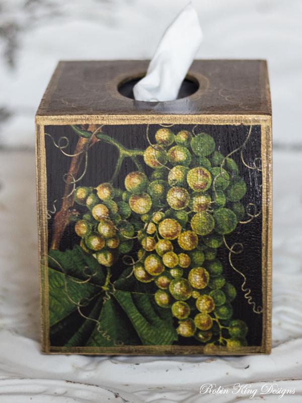 Grape Tissue Box Cover Black Background