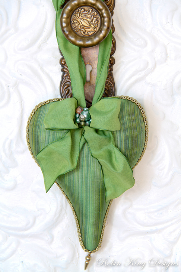 Green Striped Silk Lavender Heart Sachet