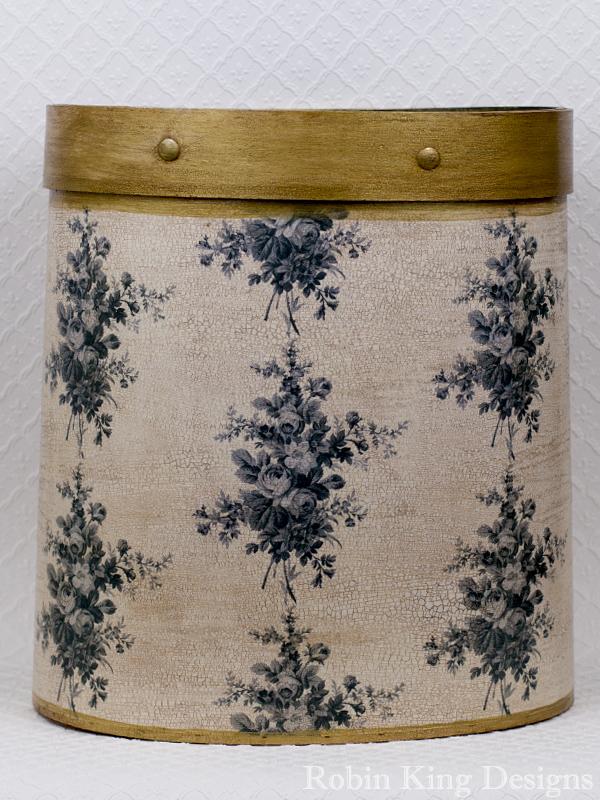 Grey Floral on Ivory Wastepaper Basket