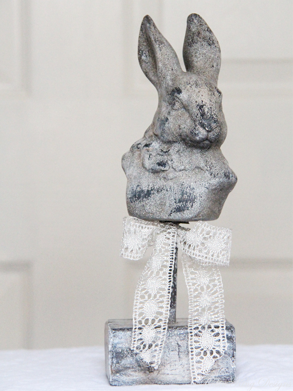 Grey Rabbit  Bust on Stand
