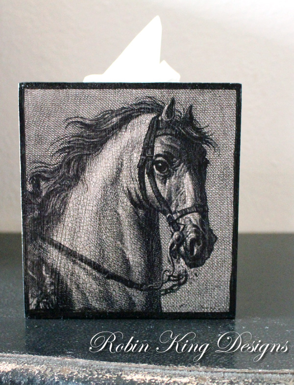 Horse Engraving Tissue Box Cover