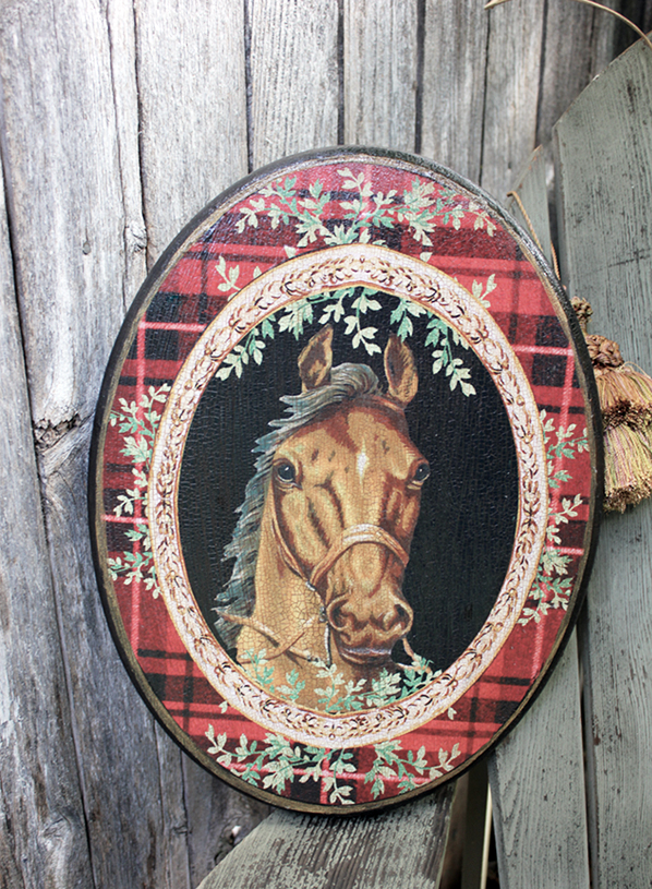 Horse Plaque Red Plaid