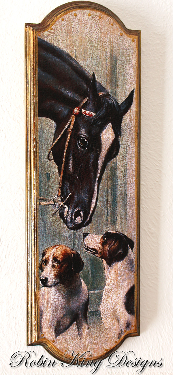 Horse in Stable with Foxhounds Equestrian Plaque