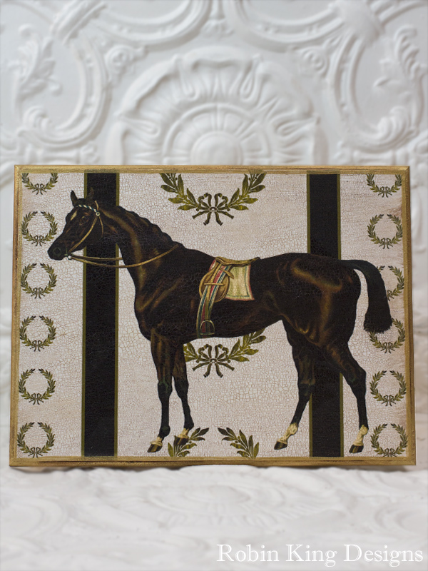 Horse and Wreaths 12 by 16 Wood Plaque
