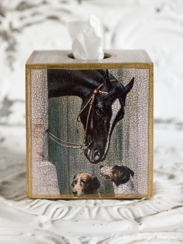 Horse in Stable with Foxhounds Tissue Box Cover
