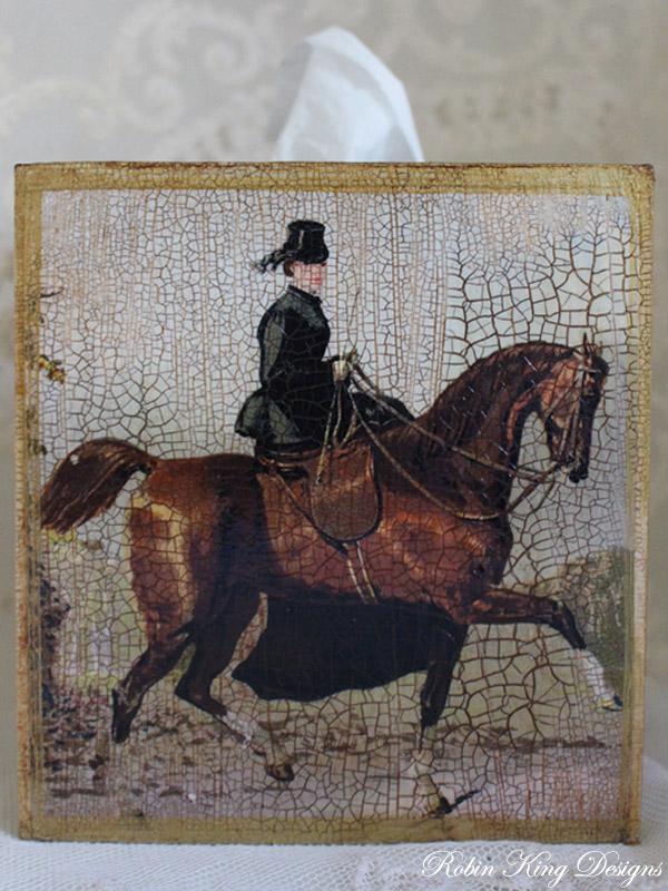 Horsewoman Tissue Box Cover