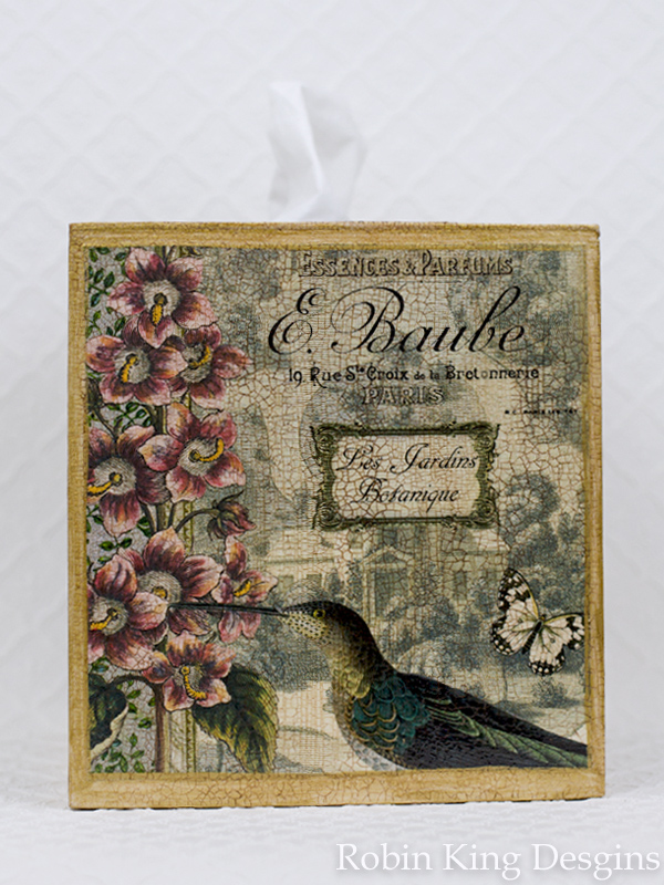 Hummingbird Francais Tissue Box Cover
