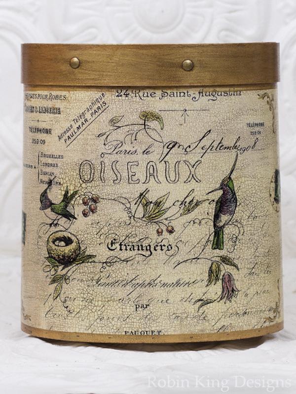 Hummingbirds French Script Wastepaper Basket