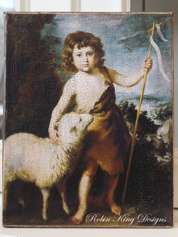 John the Baptist with Lamb 8 by 10-inch Decoupage Canvas Art