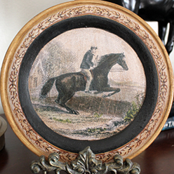 Jumping Horse Plate Blue Coat