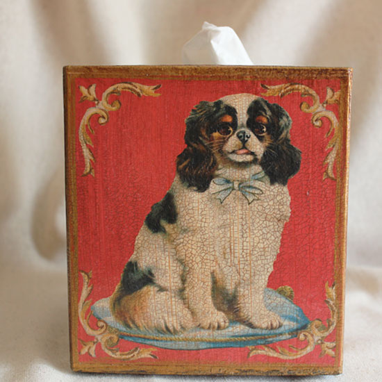 King Charles Spaniel Tissue Box Cover Red