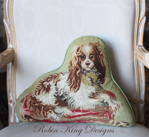 King Charles Needlepoint Pillow SOLD