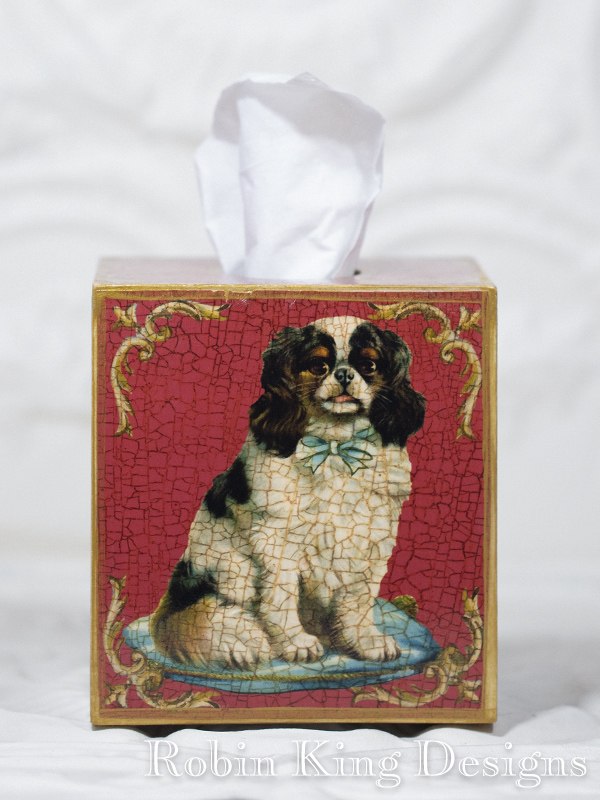 King Charles Spaniel Red Tissue Box Cover