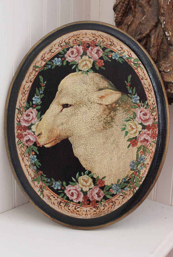 Lamb Face Plaque 11 by 14 Rose Border